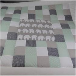 "Spiel- und Krabbeldecke ""Elefant"" mint/grau 100x100 | 125x125 cm"