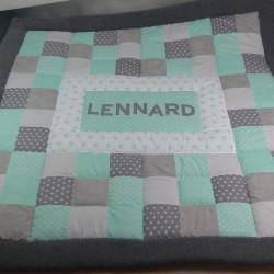 """Spiel- und Krabbeldecke """"Lennard"""" mint/grau mit Namen"""