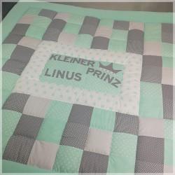 """Spiel- und Krabbeldecke """"Linus"""" mint/mint mit Namen"""